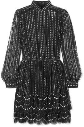 MICHAEL Michael Kors Crystal-embellished Metallic Lace Mini Dress - Black