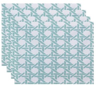 Simply Daisy, 18 x 14 Inch Rattan Geometric Geometric Print Placemat (set of 4), Pale Blue