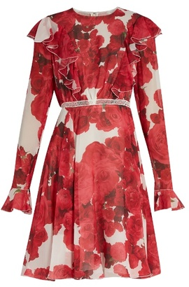 Giambattista Valli Rose-print ruffled silk-georgette dress