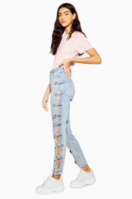 Topshop Womens Bleach Side Buckle Mom Jeans - Bleach Stone