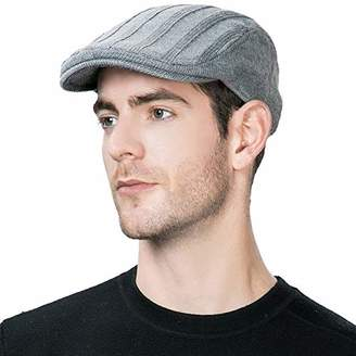Jeff & Aimy Wool Newsboy Cap Mens Winter Hat Fitted Hunting Ivy Flat Cap British Drivers Cap Grey