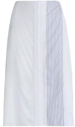 Victoria Beckham Victoria Grosgrain-Trimmed Paneled Canvas Skirt