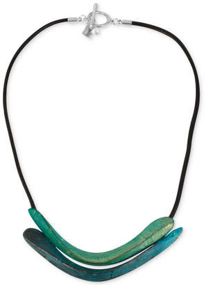 Robert Lee Morris Soho Silver-Tone Sculptural Double Row Patina Frontal Necklace