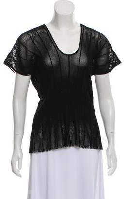 Issey Miyake Mesh Fringe-Trimmed Top w/ Tags