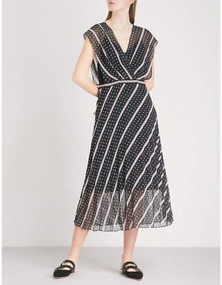 Sandro Printed chiffon midi dress