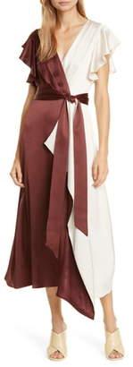 Kate Spade Colorblock Faux Wrap Midi Dress