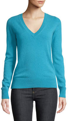 Neiman Marcus Cashmere V-Neck Sweater, Plus Size