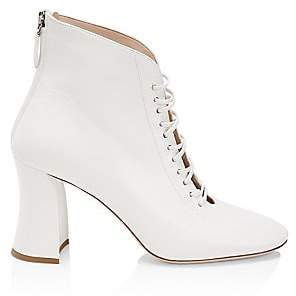 Miu Miu Women's Lace-Up Leather Ankle Boots