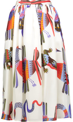 MSGM Pleated Printed Silk-Satin Skirt