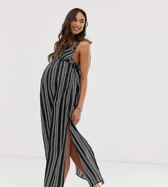 Asos DESIGN Maternity stitch stripe maxi beach dress