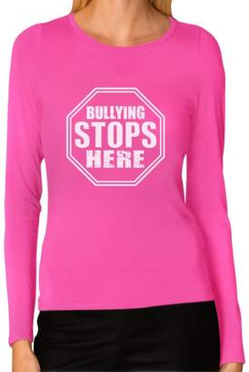 DAY Birger et Mikkelsen Tstars Bullying Stops Here Shirt Stop Sign Design Women Long Sleeve T-Shirt