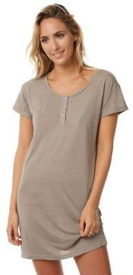 New Tee Ink Women's Vaycay Button Up Tee Dress Grey