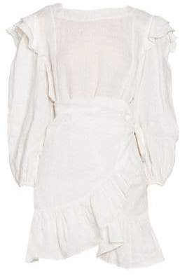 Etoile Isabel Marant Telicia Long-Sleeve Ruffle Linen A-Line Wrap Dress