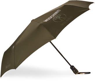 Moschino Dark Green Lettering Auto Open & Close Umbrella