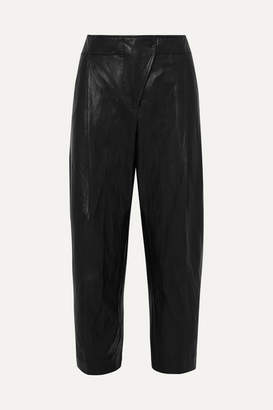 Cédric Charlier Faux Leather Tapered Pants - Black
