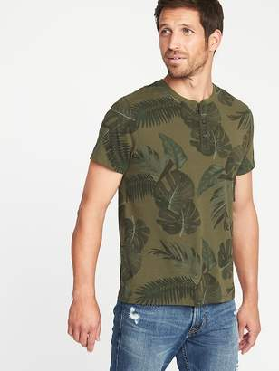 Old Navy Soft-Washed Printed Crew-Neck Henley for Men