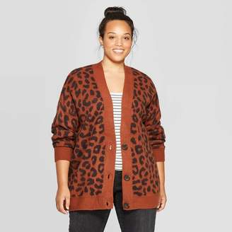 Universal Thread Women's Plus Size Leopard Print Long Sleeve V-Neck Grandpa Cardigan Brown