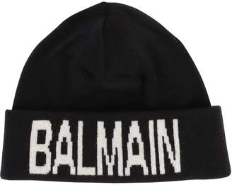 Balmain Black Branded Beanie