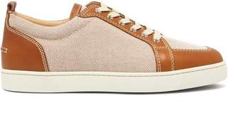 Christian Louboutin Rantulow Leather And Canvas Trainers - Mens - Brown