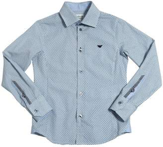 Armani Junior Logo Printed Cotton Poplin Shirt