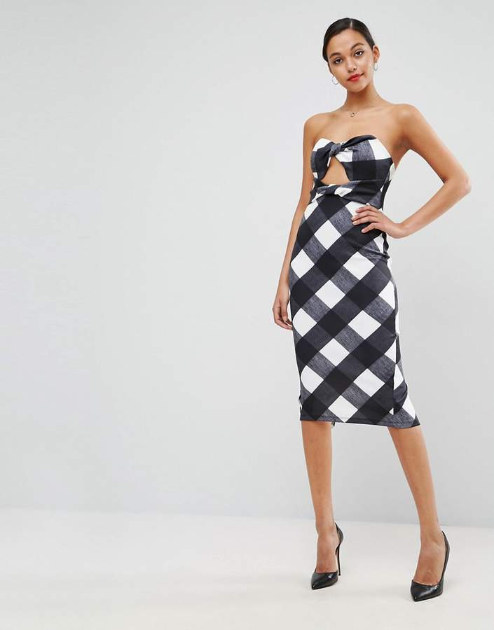 Asos ASOS Gingham Bandeau Scuba Midi Dress
