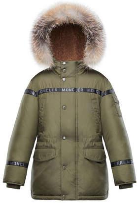 Moncler Boys' Hooded Coat w/ Fox Fur Trim, Size 4-6