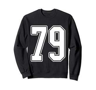 White Outline Number 79 Sports Fan Jersey Sweatshirt