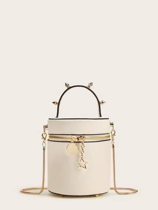 Shein Studded Decor Zip Around Bucket Bag