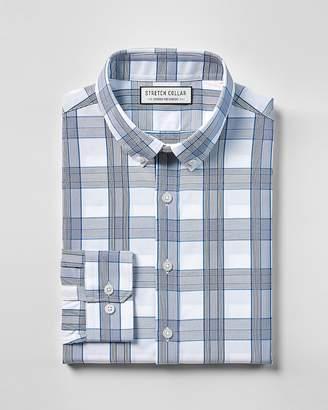 Express Slim Stretch Collar Plaid Performance Dress Shirt