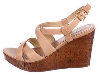 Miu Miu Leather Strap Wedge Sandals
