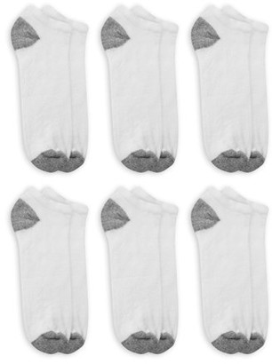 Athletic Works Men's Odor Resistant Cushion No Show Socks, 6 Pack, 13-15, White