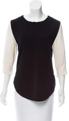 Halston Contrasted Long Sleeve Top