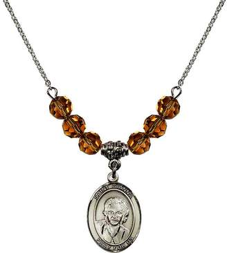 Beretta Bonyak Jewelry Saint Necklace Collection 18-Inch Rhodium Plated Necklace with 6mm Yellow November Birth Month Stone Beads and Saint Gianna Molla Charm