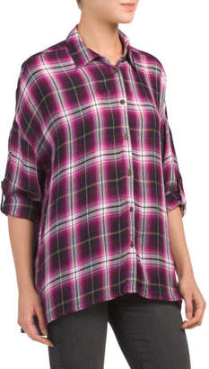 Misa Drop Shoulder Plaid Shirt