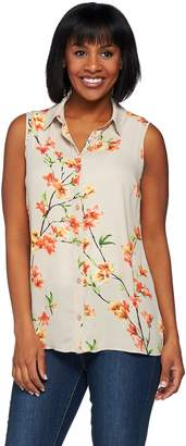 Susan Graver Printed Feather Weave Sleeveless Button Up Shirt