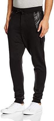 Urban Classic Men's Side Zip Leather Pocket Sweatpant Trousers