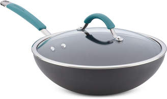 """Rachael Ray Cucina Hard-Anodized 11"""" Stir-Fry Pan with Lid"""