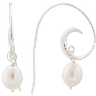 Made In India Sterling Silver Pearl Fern Earrings