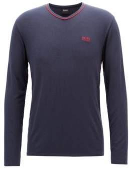 BOSS Hugo V-neck pajama top in modal-blend jersey L Dark Blue
