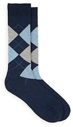 Barneys New York Men's Argyle Cotton Mid-Calf Socks - Navy
