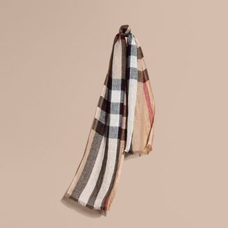 Burberry Lightweight Check Linen Scarf $295 thestylecure.com