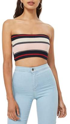 Topshop Stripe Bandeau Top