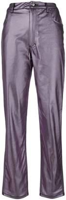 Eckhaus Latta metallic fitted trousers