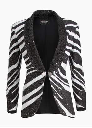 St. John Sequin Zebra Jacquard Knit Shawl Collar Jacket