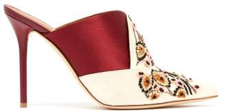 Malone Souliers By Roy Luwolt - Portia Embroidered Satin Mules - Womens - Burgundy Multi