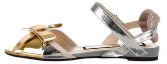 No.21 No. 21 Metallic Bow-Accented Sandals