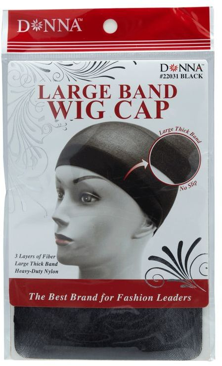 Donna Black Large Band Wig Cap