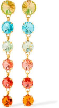 Swarovski Roxanne Assoulin - Technicolor Gold-tone Crystal Earrings - Orange