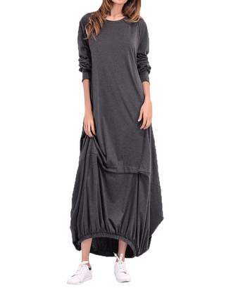 BIUBIU Women's Plus Size Casual Long Sleeve Knee Stitching Party Long Maxi Dress L