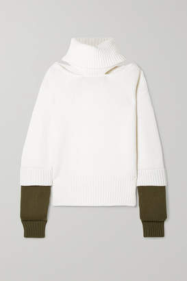 Monse Oversized Cutout Two-tone Wool Turtleneck Sweater - Ivory